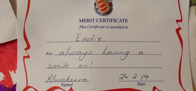 Happier Amanda Walsh Her third merit certificate for – Merit Certificate Comments